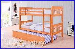 Lavish Lydia Solid Wooden 3'ft Single Bunk Bed In Oak Finish +trundle Option
