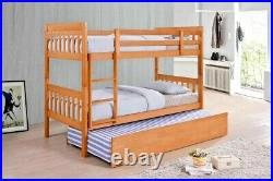Lavish New Lydia Solid Wooden 3ft Single Bunk Bed Frame In White Or Oak Finish