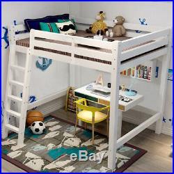 Loft Bunk Bed 3ft Single Wooden High Sleeper Bunkbed Heavy Duty Solid Pine Wood