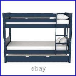 Luca Kids Bunk Bed with Pull Out Trundle in Navy Blue LLL003