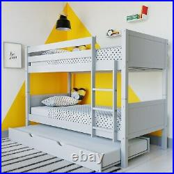 Luca Kids Bunk Bed with Pull Out Trundle in Pale Grey LLL002