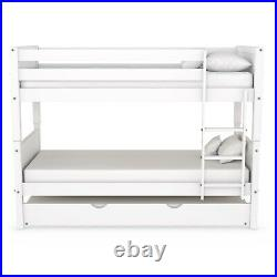 Luca Kids Bunk Bed with Pull Out Trundle in White LLL001