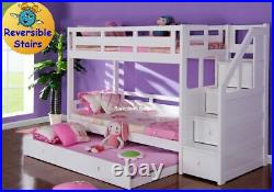 Luxury Single White Wooden Bunk Bed With Trundle Guest Bed With Stairs New