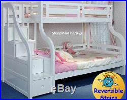 Luxury White Wooden Triple Bunk Bed With Staircase Storage Drawers In Stairs