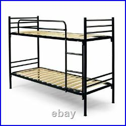 METAL BUNK BED BLACK WOODEN SLATS CM 80x195 (80x203x150 overall) FOR ADULTS