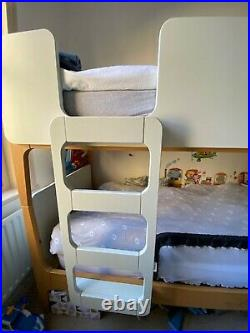 Made Transformable Bunk Beds with Bed Bases No mattress, White Wood