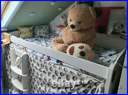 Mid-cabin sleeper bunk bed with ladder and slide in white, mini playground