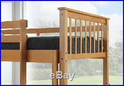 Modern Beech Children's Oak Colour Wooden Bunk Bed Frame 3ft Single