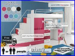Modern Cabin Loft Set Bunk Bed Kids Youth Wardrobe Desk Bed Storage Mattresses