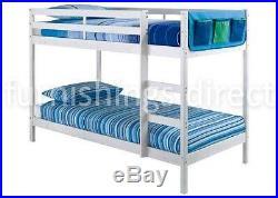 Modern Design 2ft6 Shorty White Pine Bunk Bed With 2 X Sprung Flex Mattresses