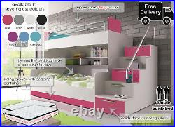 Modern Double Bunk Bed For Bedroom Girl Boy Kids Youth Storage Stairs Mattresses
