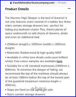 Modern Kids White Wooden Bunk Bed + Stairs Storage