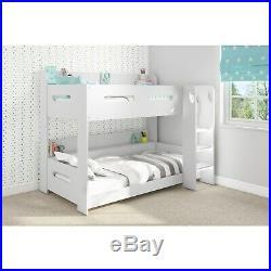 Modern Kids White Wooden Bunk Bed + Storage Shelves