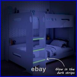 Modern Kids White Wooden Bunk Bed + Storage Shelves Boys Girls Unisex Brand New