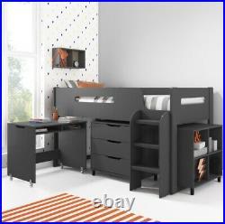 NEW! Modern Bunk Bed with Storage + Ladder + Slide Desk Dark Grey Kids Bed