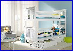 New Bunk Beds Wenge Adult Size Wooden Children Mattresses And Storage Drawers