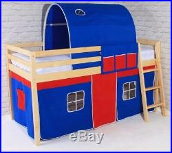 New Wooden Mid Sleeper Pine Cabin Loft Bed 3ft Single Bunk New Kids Boys