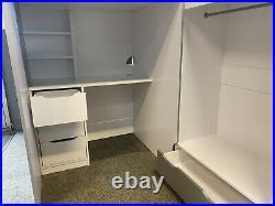 Pegasus White Wooden High Sleeper Bunk Bed 3ft Single Storage With Mattress