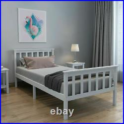 Pine Solid Wooden Bed Frame 3FT Single 4FT6 Double Triple Sleeper Bunk All White
