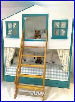 Playhouse Bunk Bed, traditional tree house with open windows and sturdy ladder
