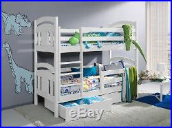 SOLID PINE 3ft or 2ft6 WOODEN BUNK BEDS WITH MATTRESSES AND STORAGE DRAWERS