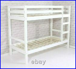 Shorty Bunk Bed Pine New White Wooden 2ft 6 With Slats