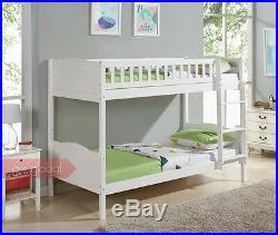 Single 3FT Bunk Bed Wooden Frame White Pine Full Panel Headboard