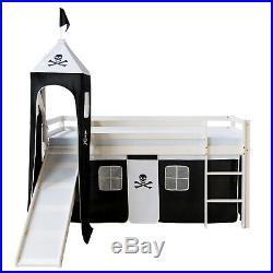 Single Sleeper Bunk Cabin Bed Children Kids Slide Tower Black Pirate Homestyle4u