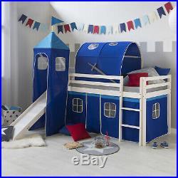 Single Sleeper Bunk Cabin Bed Children Kids Slide Tower Tent Blue Homestyle4u