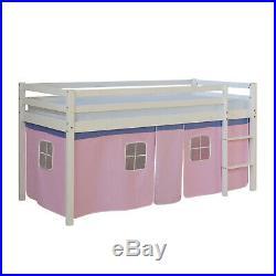 Single Sleeper Bunk Cabin Loft Adventure Bed Children Kids Pink Homestyle4u