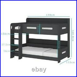 Single Wooden Frame Bunk Bed / Beds Dark Grey Boys and Girls Unisex New