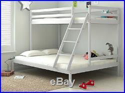 Solid Pine Wood Bunk Bed Frame Triple 3 Sleeper Single Double Bedstead Furniture
