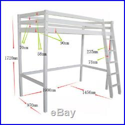 Solid Wood Kids Safety Single High Sleeper Loft Cabin Bed Desk with Stairs Bunk