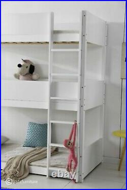 Solid Wood White Triple Sleeper Three Tier Bunk Bed 3ft Single 3tier Marwa