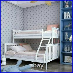 Solid Wooden Triple Bunk Bed Frame with Headboard & Stairs Children Kid Teen White