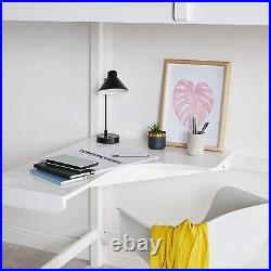Study Bunk Bed Frame High Sleeper with Desk Wooden Student Furniture Children