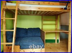 Thuka Solid pine High Sleeper Cabin/Bunk Bed With Desk, Sofa/ Pull-out Futon Bed