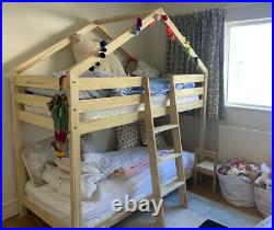 Treehouse Kids Bunk Bed Wooden Frame 3 Ft Baby Sleeper Pine House Canopy