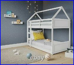 Treehouse Single Bunk Bed Wooden Frame 3FT Kids Sleeper Pine House Canopy