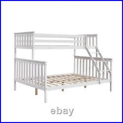 Triple Bunk Bed 3FT Single & 4FT6 Double Bed Frame with Stair Solid Wooden Pine
