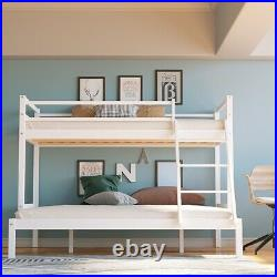 Triple Bunk Bed Frame 3FT Single / 4FT6 Double Pine Wooden Bed Frame with Ladder