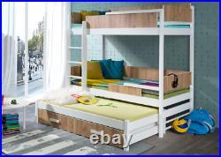 Triple Bunk Bed QUATRO 3 Single Size CHILDREN BEDROOM FURNITURE Custom Colour