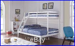 Triple Bunk Bed Wooden Frame Children Kids White Pine Grey and Mattress Ladder