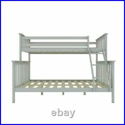 Triple Bunk Beds Double Bed Frame Solid Pine Wood Adult Kids Children with Stair