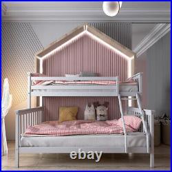 Triple Bunk Beds Double Bed Frame Solid Pine Wooden High Sleeper Children Kids