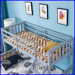 Triple Bunk Beds Double Bed With Stairs For Kids Children Solid Wooden Bed Frame