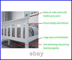Triple Bunk Beds Double Bed With Stairs For Kids Children White Wooden Bed Frame