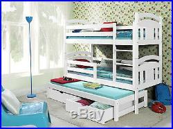 Triple Sleeper BUNK BEDS Solid WOODEN Pine CHILDRENS Furniture MATTRESSES