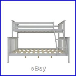 Triple Sleeper Bed Wooden Bunk Bed In Grey With Headboard Double & Single Kids