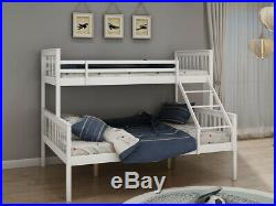 Triple Sleeper Bunk Bed 2Cartons Sturdy Wooden Frame In Double&Single Beds White